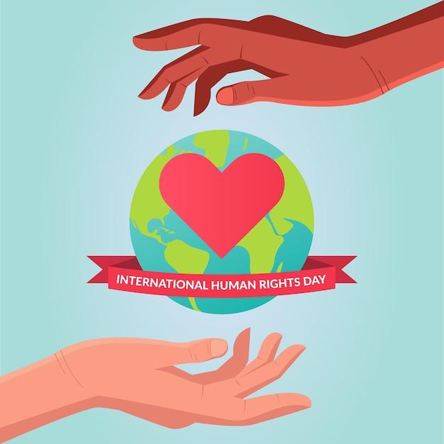 Voluntários mundiais e de direitos humanos. mundo protegido por crimes e violação de seus direitos. mãos e corações Vetor Premium