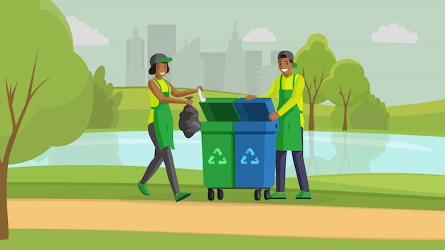Voluntarios Que Limpam A Ilustracao De Cor Lisa Do Parque