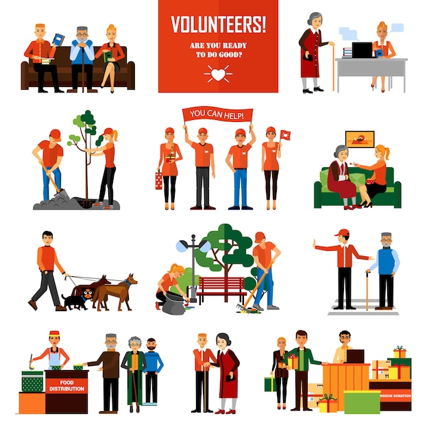Volunteers people decorative icons set Vetor grátis