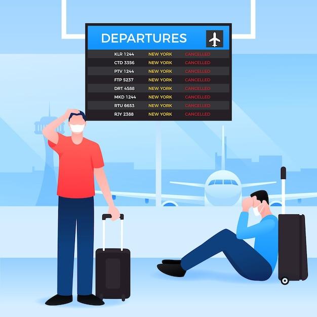 Voo cancelado com pessoas no aeroporto Vetor grátis
