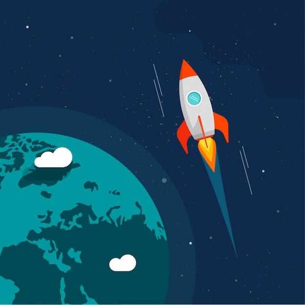 Voo de foguete no espaço perto da ilustração da órbita terrestre Vetor Premium