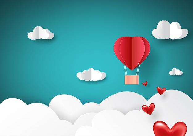 Vôo encarnado do balão de ar quente no céu com estilo da arte do papel de conceito do amor. Vetor Premium