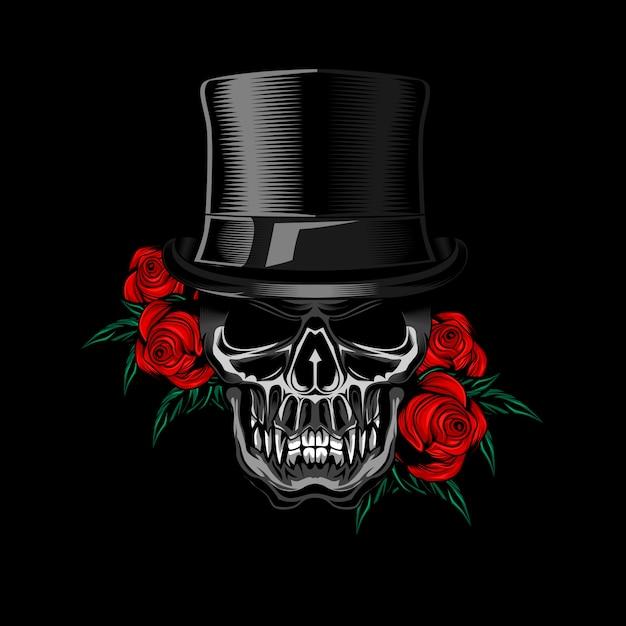 Voodo skull hat rose vector Vetor Premium