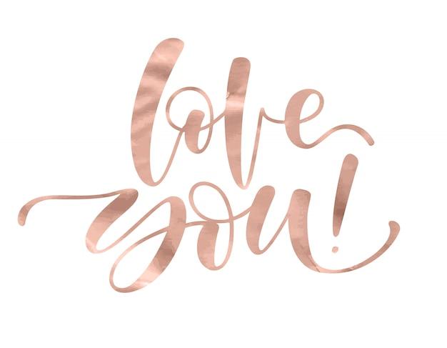 Vos amo. letras românticas com mão moderna escrita caligráfica Vetor Premium