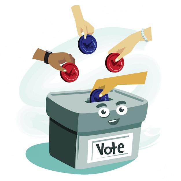 Voto conceito dos desenhos animados ilustração Vetor Premium