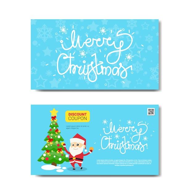 Voucher de desconto cupom design com santa e fluer verde árvore para presente no feliz natal e feliz ano novo isolado Vetor Premium