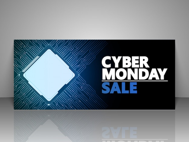 Voucher de oferta de design cyber monday. Vetor Premium