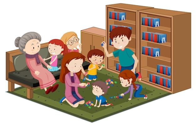 Vovó com netos na biblioteca isolado no fundo branco Vetor grátis