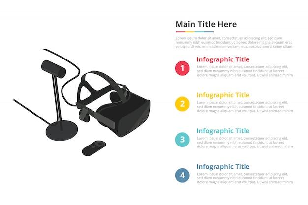 Vr gadget technology humvee infográficos militares modelo com quatro pontos Vetor Premium