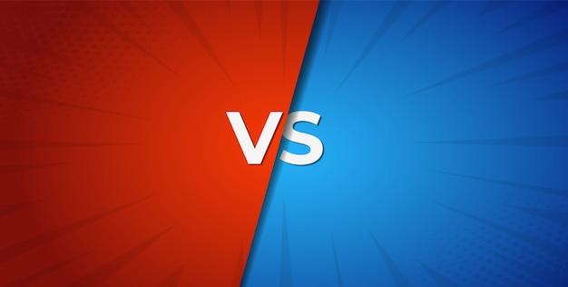 Vs contra o fundo de batalha vermelho e azul Vetor Premium
