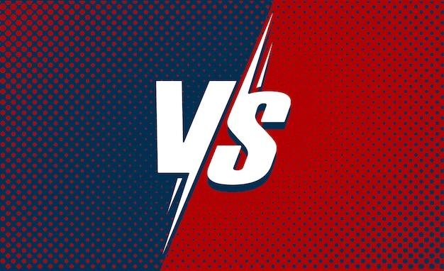 Vs ou contra o cartaz de texto para batalha ou luta jogo cartoon plana com fundo vermelho e azul escuro meio-tom Vetor Premium