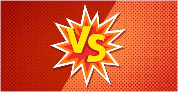 Vs ou contra o cartaz de texto para o jogo de batalha ou luta no projeto de explosão plana dos desenhos animados com imagem de fundo de meio-tom laranja vermelho Vetor Premium