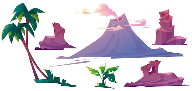 Vulcão com fumaça, pedras e palmeiras Vetor grátis