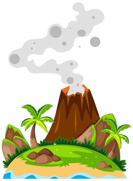 Vulcão na ilha Vetor grátis