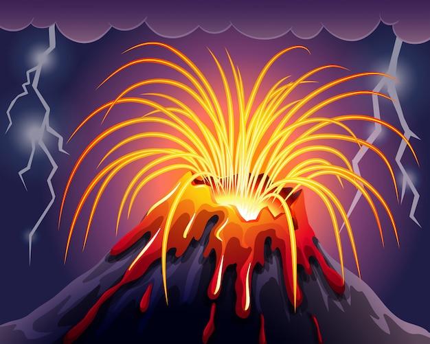 Vulcão na noite de trovoadas Vetor grátis