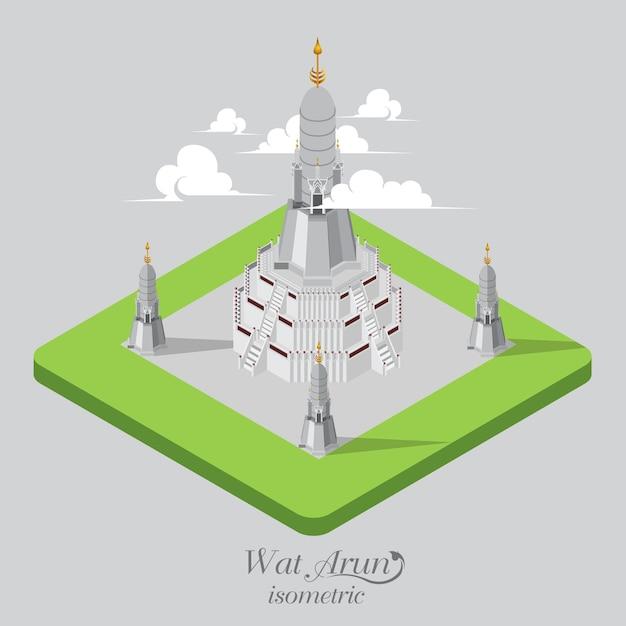 Wad arun templo isométrico Vetor Premium