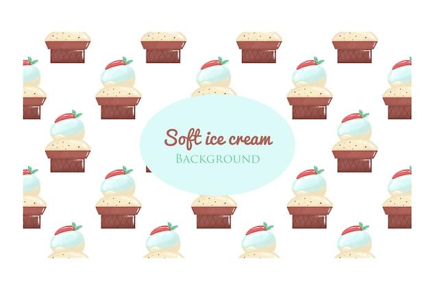 Waffle de sorvete Vetor Premium
