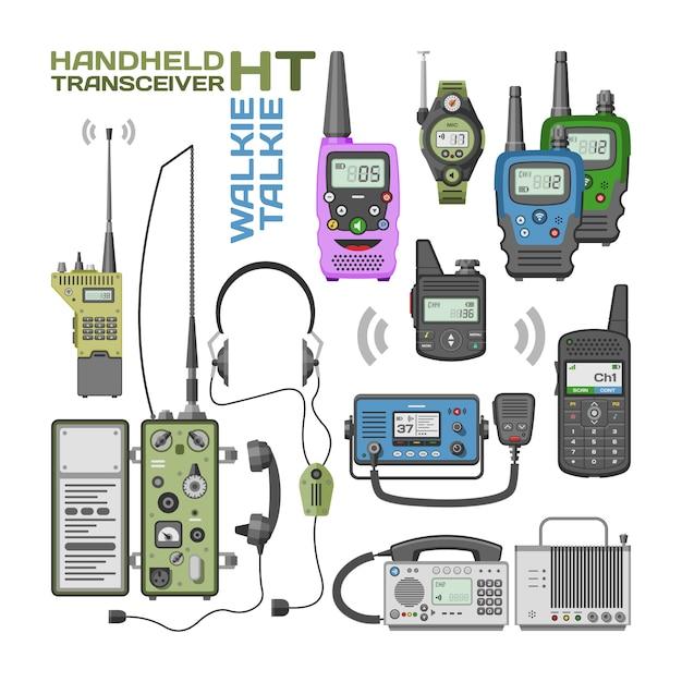 Walki-talkie vector rádio transmissor portátil sem fio dispositivo de comunicação móvel Vetor Premium