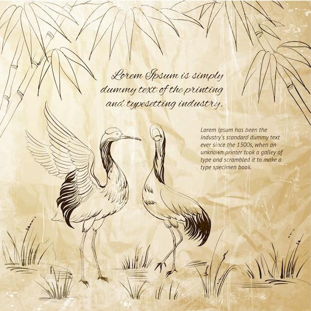 Wallpaper heron e bambu Vetor grátis