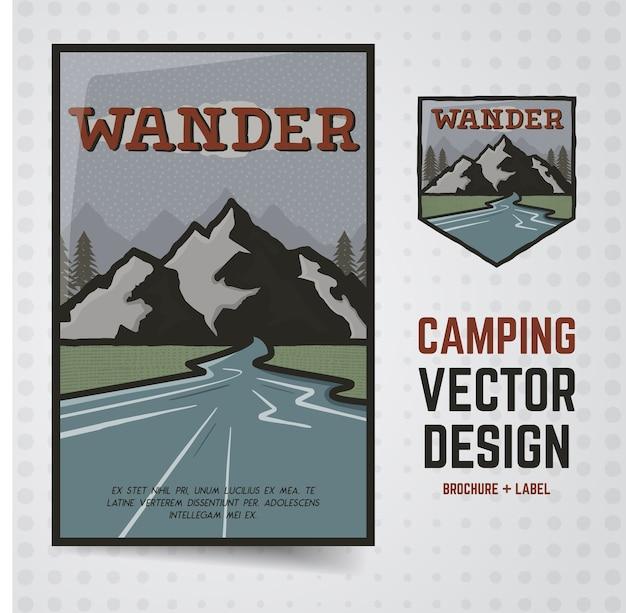 Wander outdoor illustration Vetor Premium