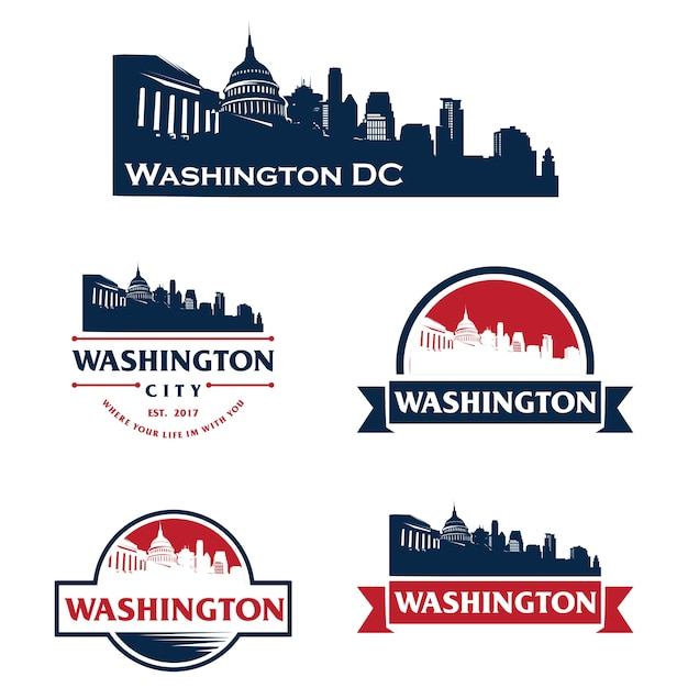 Washington eua skyline logo cityscape e marcos silhueta Vetor Premium