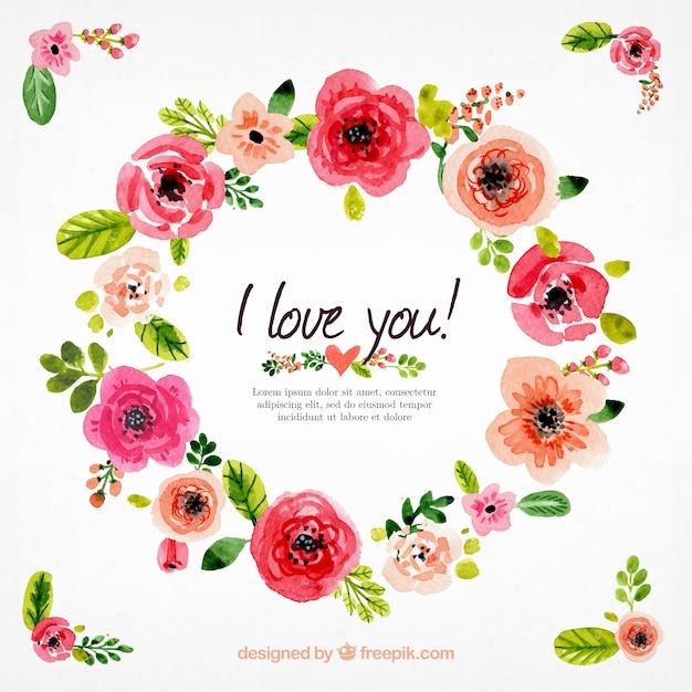 Watercolor coroa de flores Vetor Premium