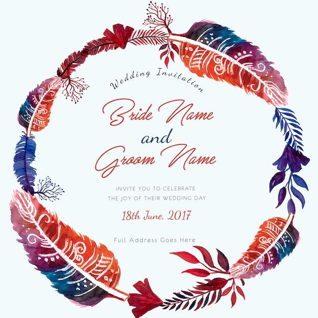 Watercolor handmade feather ring wedding invitation card Vetor grátis