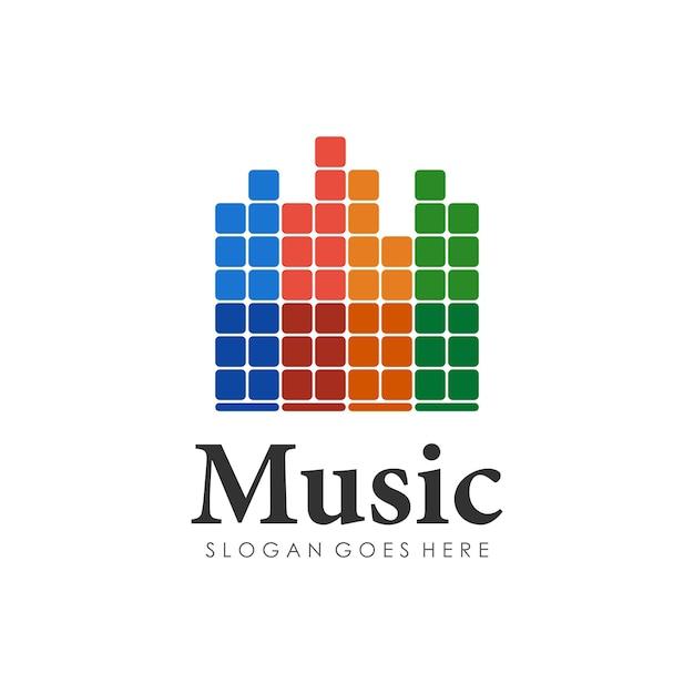 Wave music play design do logotipo Vetor Premium