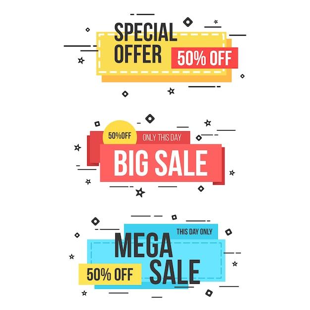 Web banner elemento venda memphis estilo Vetor Premium