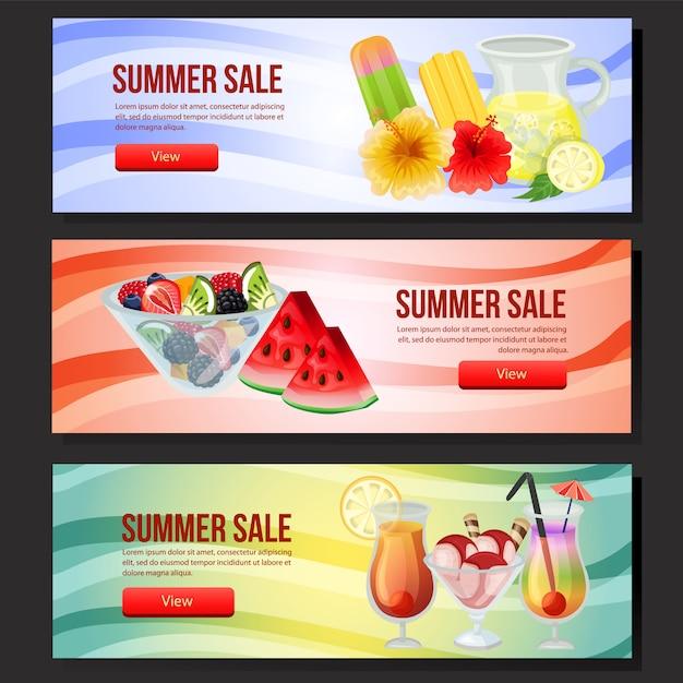 Web colorida da bandeira da venda do verão três com ilustração do vetor do refresco Vetor Premium