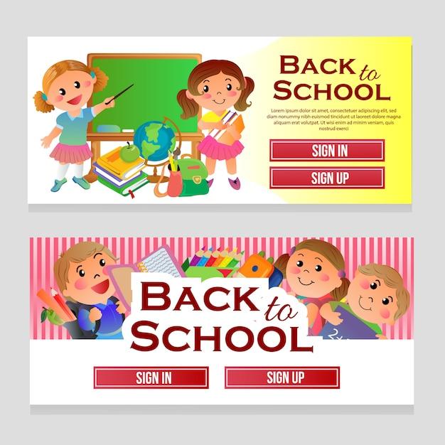 Web Colorido Banner Escola Tema Com Criancas Dos Desenhos Animados