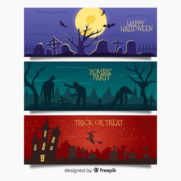 Web de banner de halloween assustador Vetor grátis