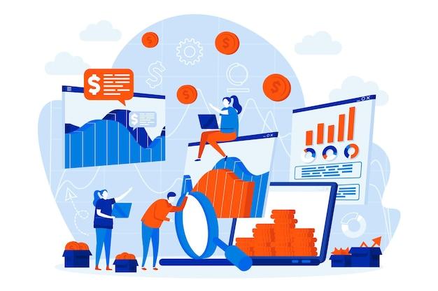 Web design de estatísticas de negócios com personagens de pessoas Vetor Premium