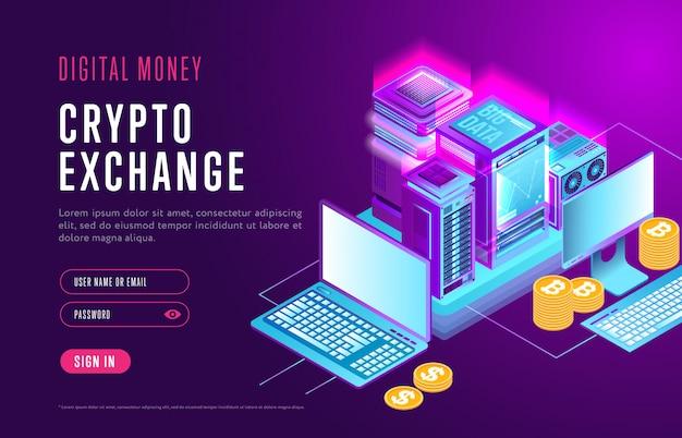 Web design de página para troca de criptografia Vetor Premium