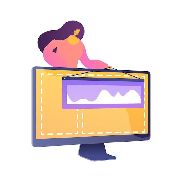 Web design e criação de conteúdo. página inicial, site, elemento de design de criação de página inicial. designer gráfica feminina, desenvolvedora personagem plana. Vetor grátis