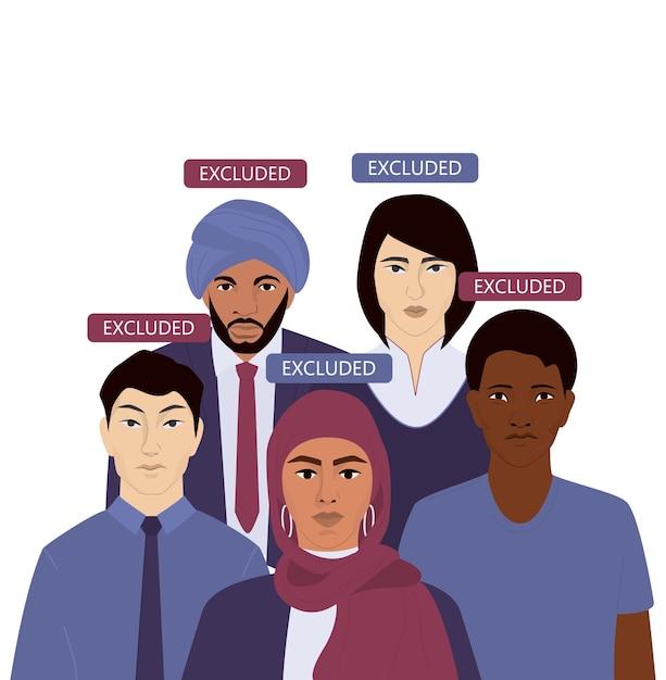 Web do conceito de discriminação de origem nacional ou banner de anúncio. grupo Vetor Premium