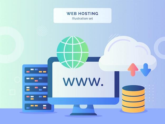 Web hosting ilustração definir site display monitor computador próximo globo servidor upload download com estilo simples. Vetor Premium