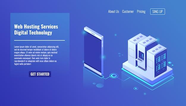 Web hosting services, sala de servidores isométrica, tecnologia digital, rack de servidor Vetor grátis