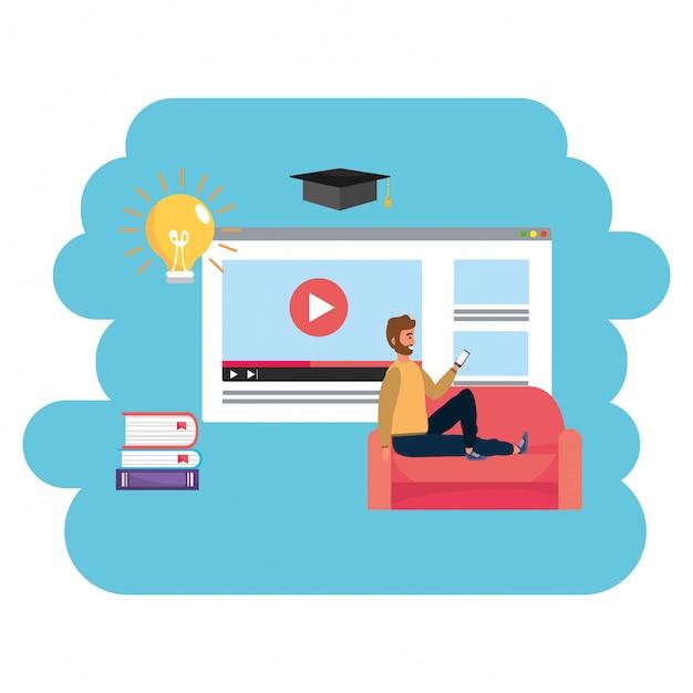 Web page millennial do estudante da educação em linha Vetor Premium