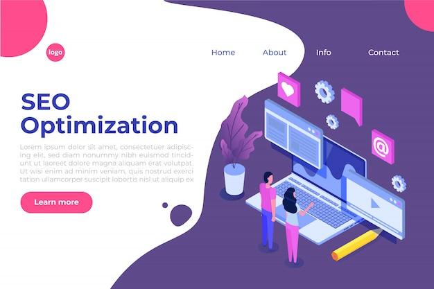 Web seo otimização ilustração conceito isométrico. modelo de página de destino. adesivo para banner web, página web, banner, apresentação, mídias sociais, documentos, cartões, cartazes. Vetor Premium