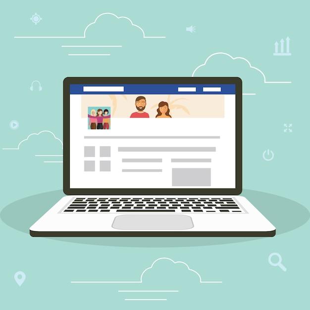 Web site de rede social surfing conceito ilustração de jovens que usam laptop dispositivos móveis para fazer parte da comunidade online. Vetor Premium