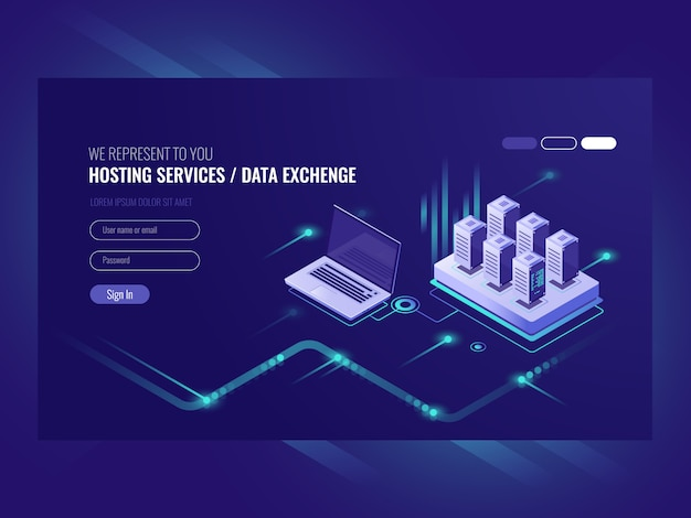 Web sites que hospedam serviços, rack de sala de servidores, data center, pesquisa de dados Vetor grátis