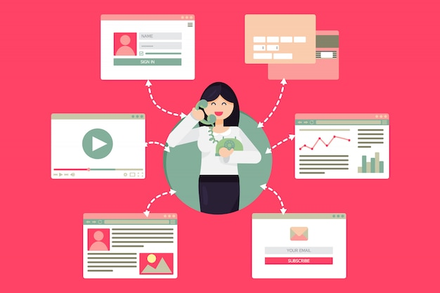 Web vida de trabalhador mulher com telefone de vídeo Vetor Premium