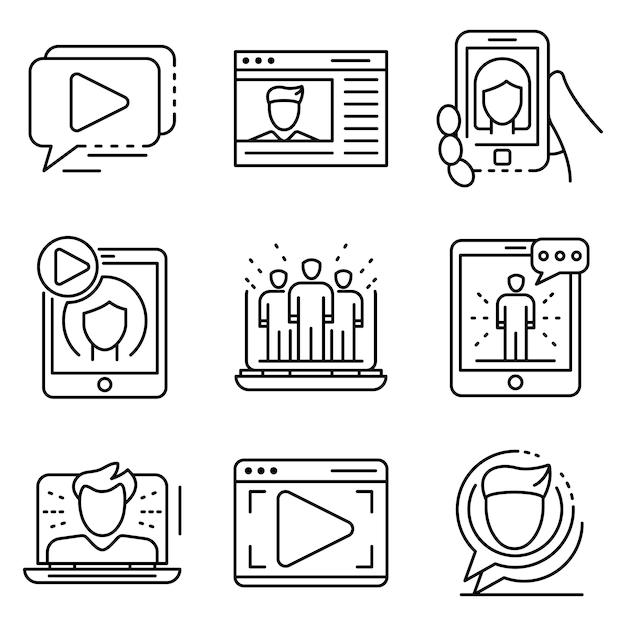 Webinar conjunto de ícones. conjunto de contorno de ícones de vetor webinar Vetor Premium