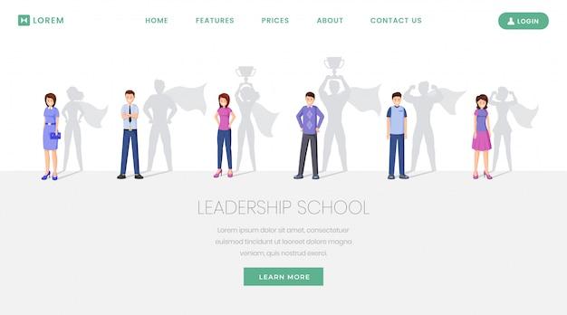 Website da escola de líderes Vetor Premium