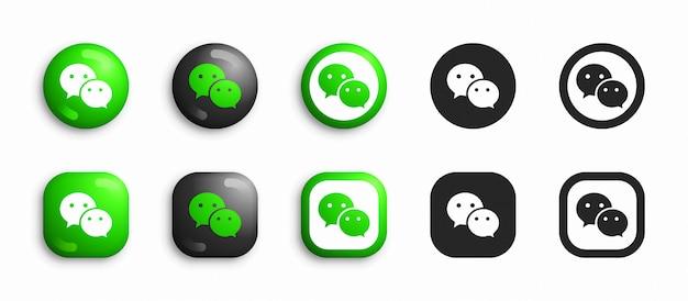 Wechat moderno 3d e conjunto de ícones plana Vetor Premium
