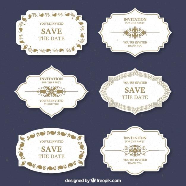 Wedding etiquetas do projeto Vetor grátis