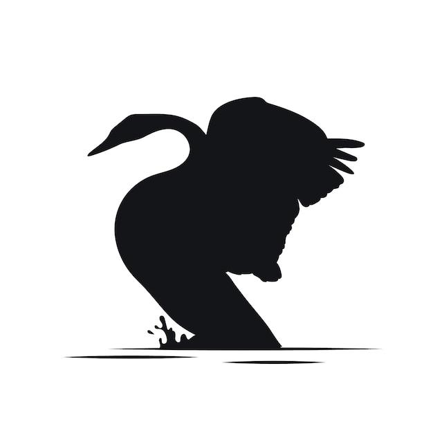 Wedge bonito cisne com asas para cima Vetor grátis