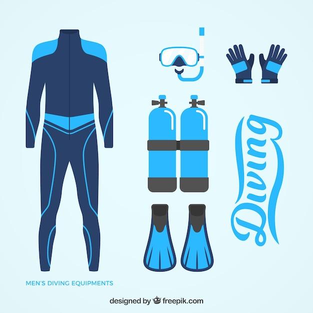 Wetsuit e mergulho elementos azuis no design plano Vetor grátis