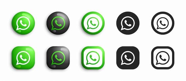 Whatsapp moderno 3d e conjunto de ícones plana Vetor Premium